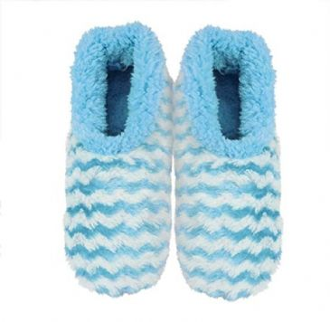 Blue Striped Ladies Small 3-4 Rose Textured Fur-Like Snoozies